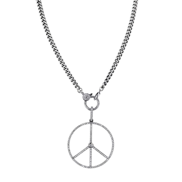 DIAMOND PEACE SIGN PENDANT NECKLACE