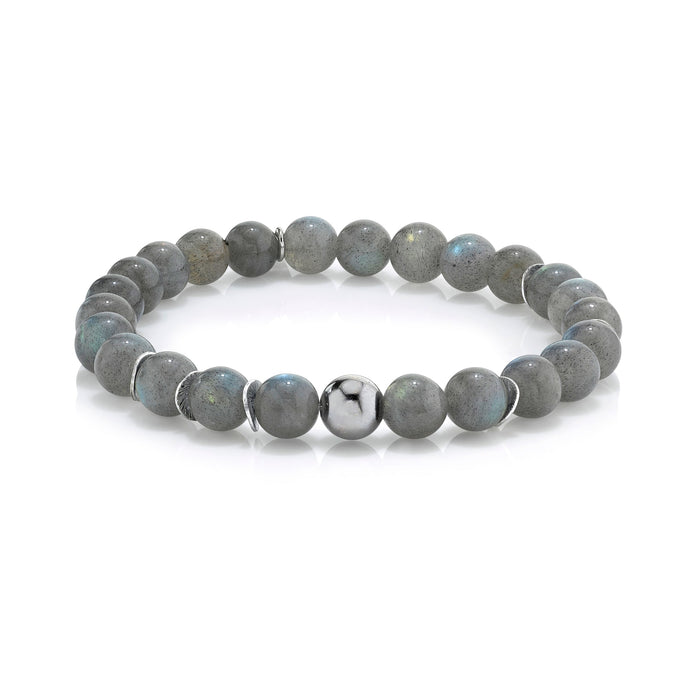 LABRADORITE BRACELET WITH SILVER BEAD AND DISCS