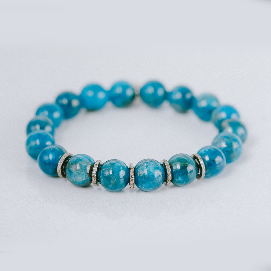 Apatite Bracelet with Diamond Rondelles