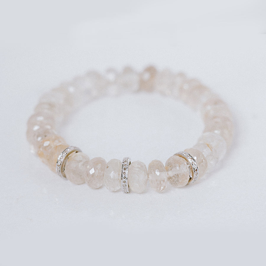 Rutilated Quartz and Diamond Rondelle Bracelet