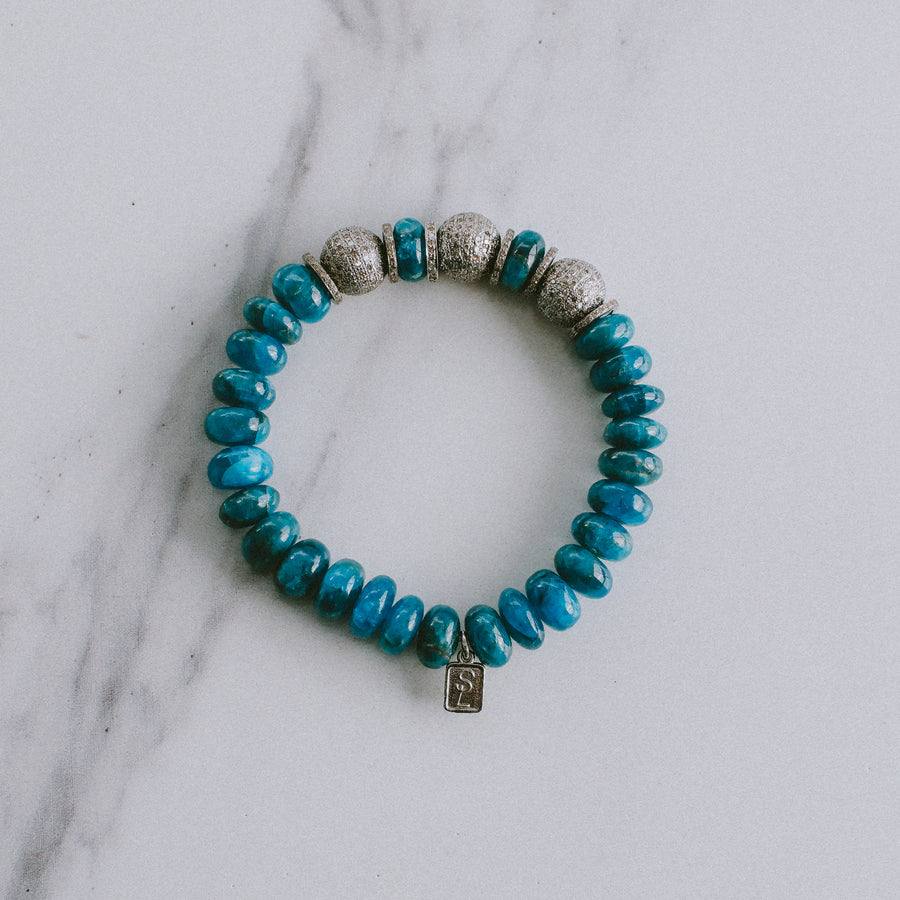 Apatite Bracelet with Diamond Beads