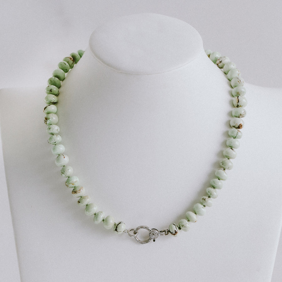 Lemon Chrysoprase Necklace with Diamond Clasp