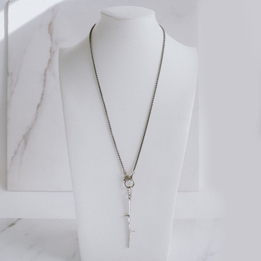 Diamond Thorn Pendant on Snake Chain Necklace