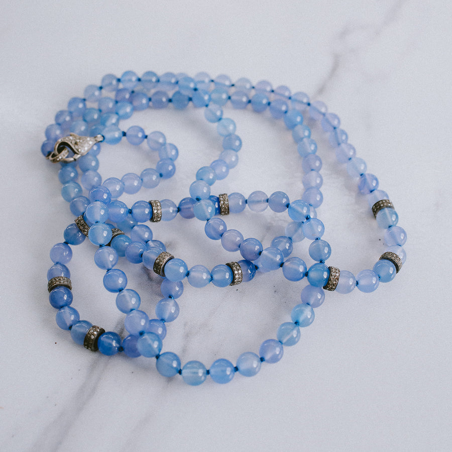 Blue Agate Knotted Necklace with Diamond Rondelles