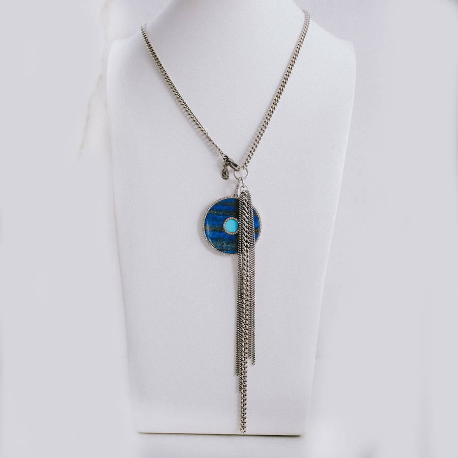 Lapis and Turquoise Evil Eye Pendant Necklace