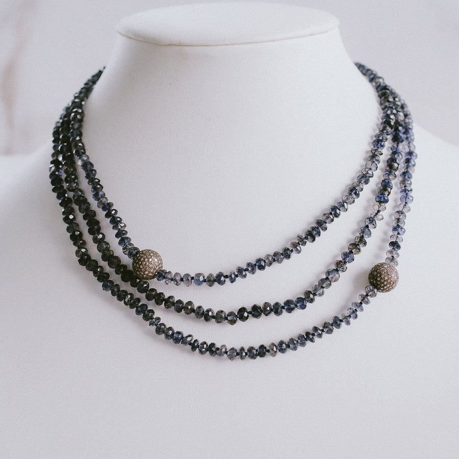 Iolite Knotted Necklace with Diamond Beads