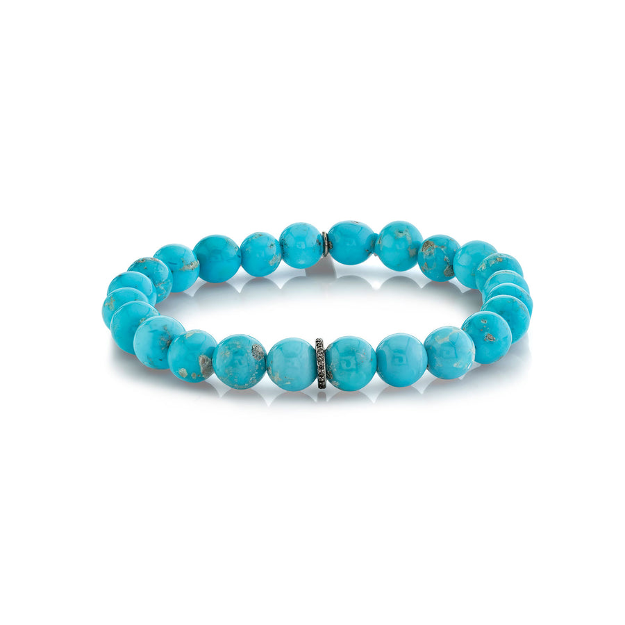 Mr. LOWE Kingman Turquoise Bracelet with Diamond Rondelle