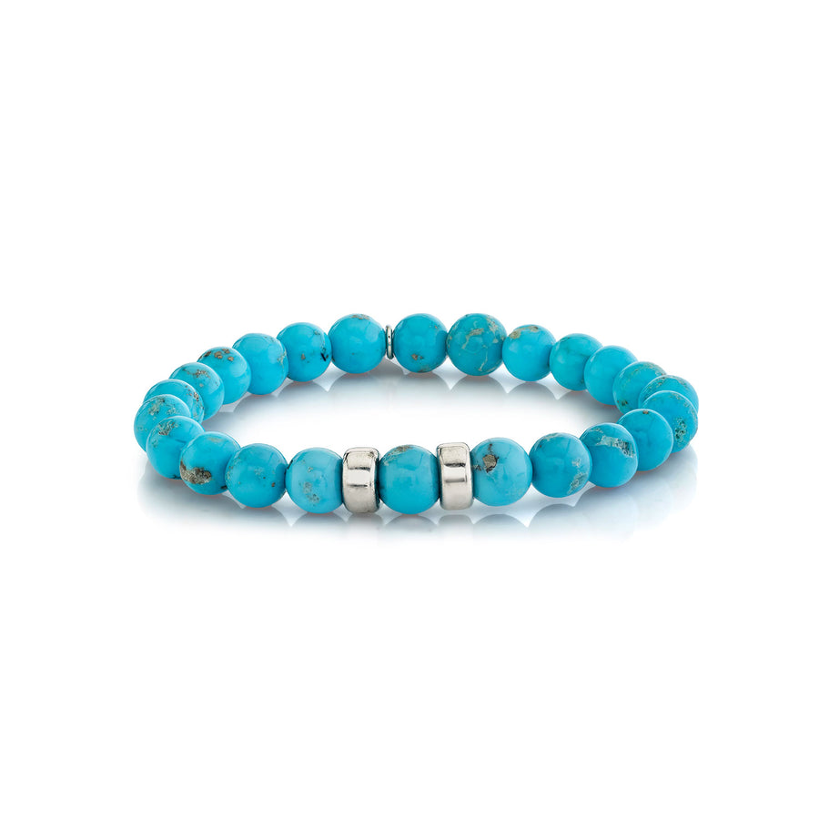 Mr. LOWE Kingman Turquoise Bracelet with Silver Accents