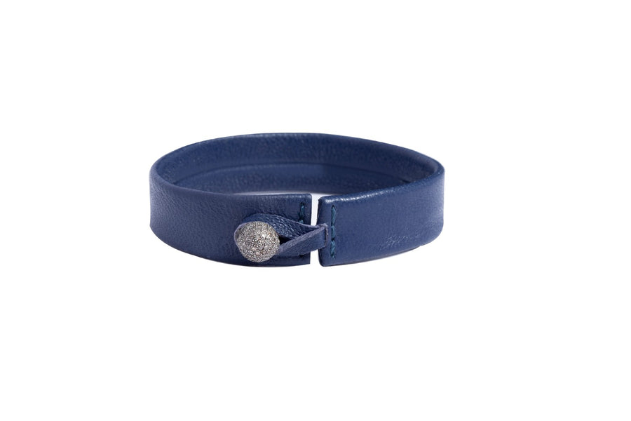 Navy Blue Lambskin Wrap Bracelet with Diamond Closure