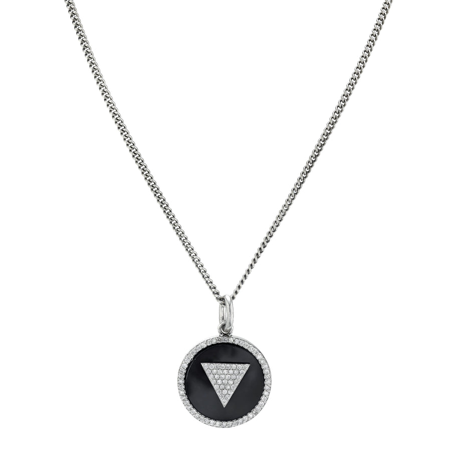 Onyx Inlay Pendant Chain Necklace