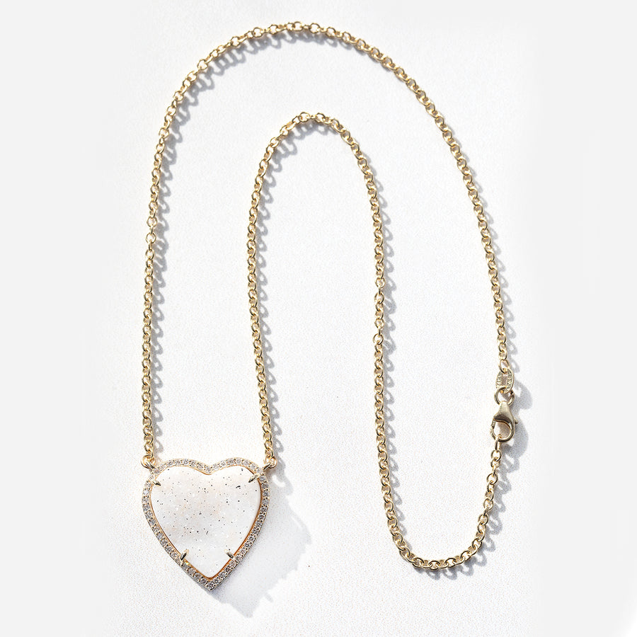 Pure Love 14k Druzy Heart Necklace