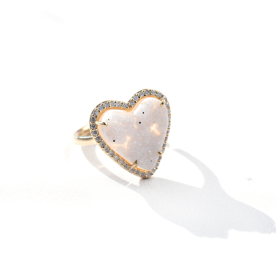 Pure Love 14k Druzy Heart Ring