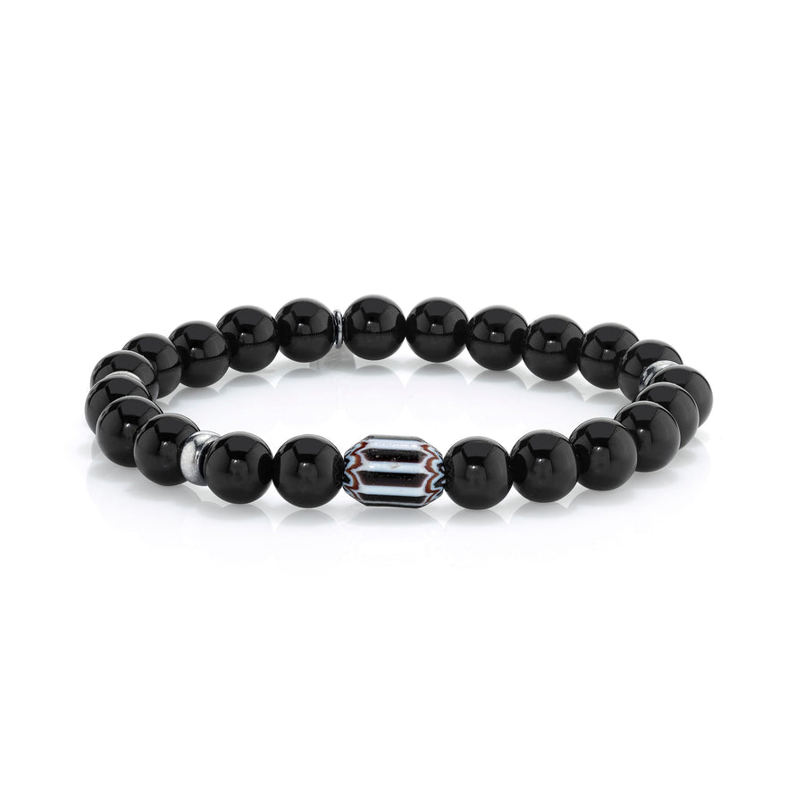 Mr. LOWE Onyx Bracelet With African and Silver Beads