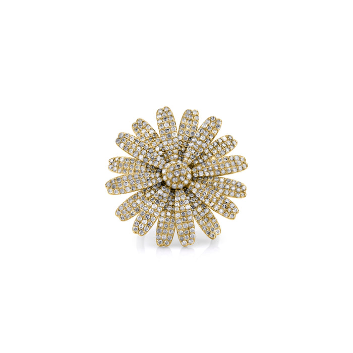 14K GOLD PAVÉ DIAMOND LARGE DAISY RING