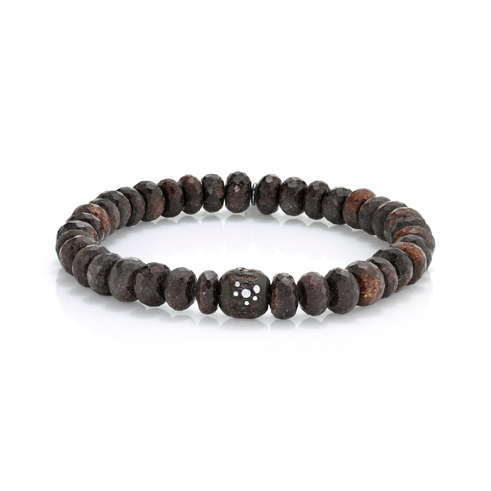 COFFEE QUARTZ BRACELET WITH YEMEN BEAD