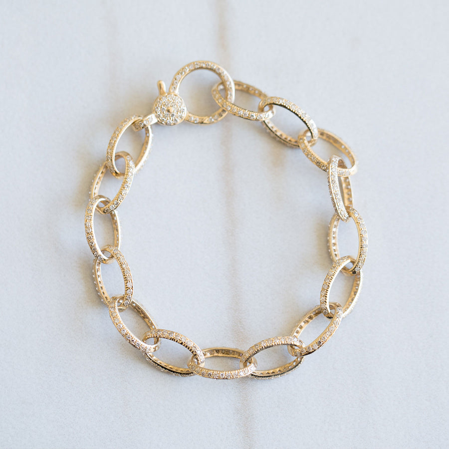 14k All Diamond Oval Link Bracelet