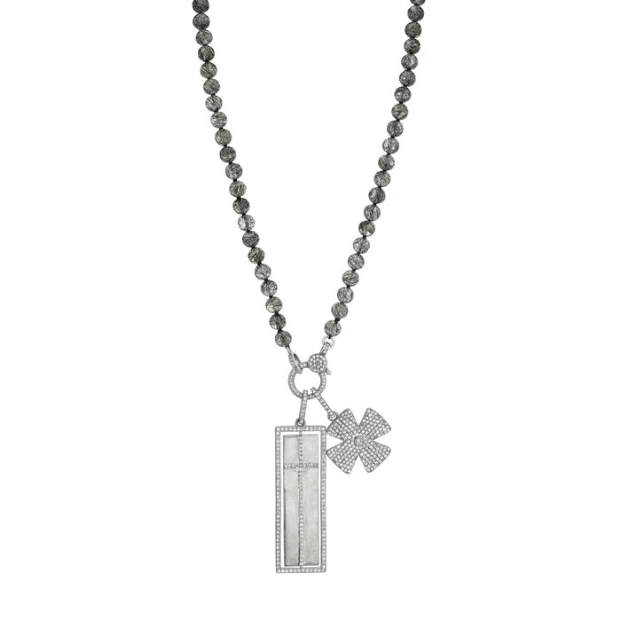 BLACK TOURMALINATED QUARTZ KNOTTED NECKLACE WITH SPINNING PAVE DIAMOND FAITH/CROSS PENDANT