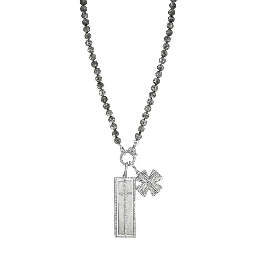 Black Tourmalinated Quartz Knotted Necklace with Spinning Pavé Faith and Cross Pendant