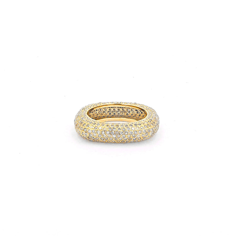 14k Gold Diamond Square Stack Ring