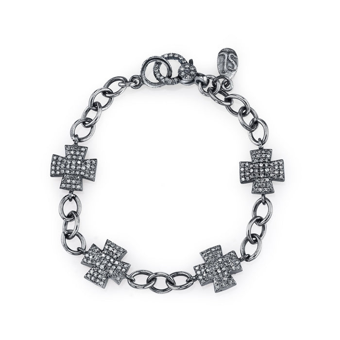 CROSS PAVÉ DIAMOND LINK CHAIN BRACELET