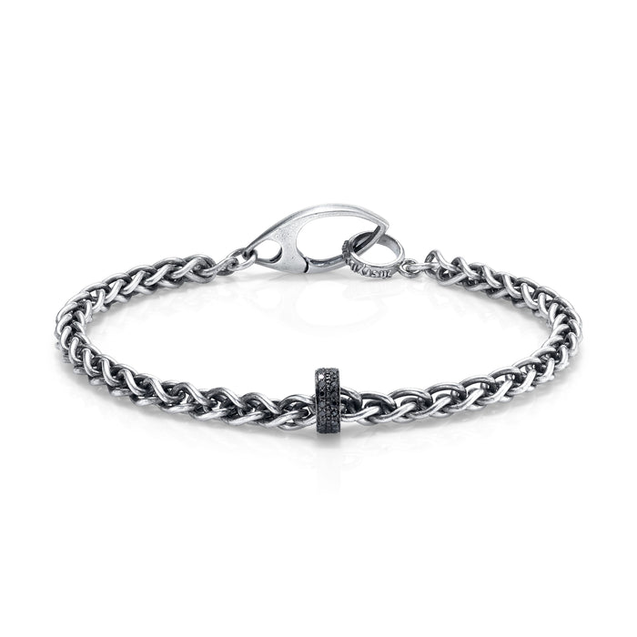 CHAIN BRACELET WITH BLACK PAVÉ DIAMOND RONDELLE
