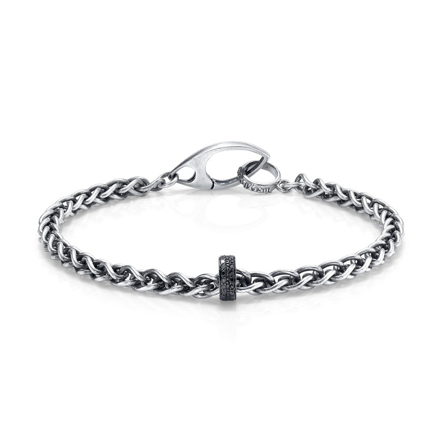 Mr. LOWE Chain Bracelet with Black Diamond Rondelle