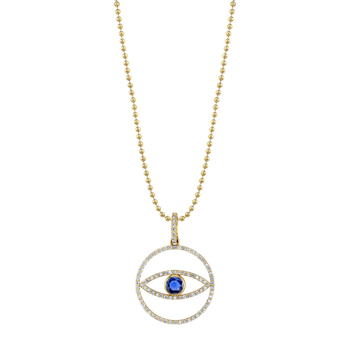 14K EVIL EYE MEDALLION NECKLACE