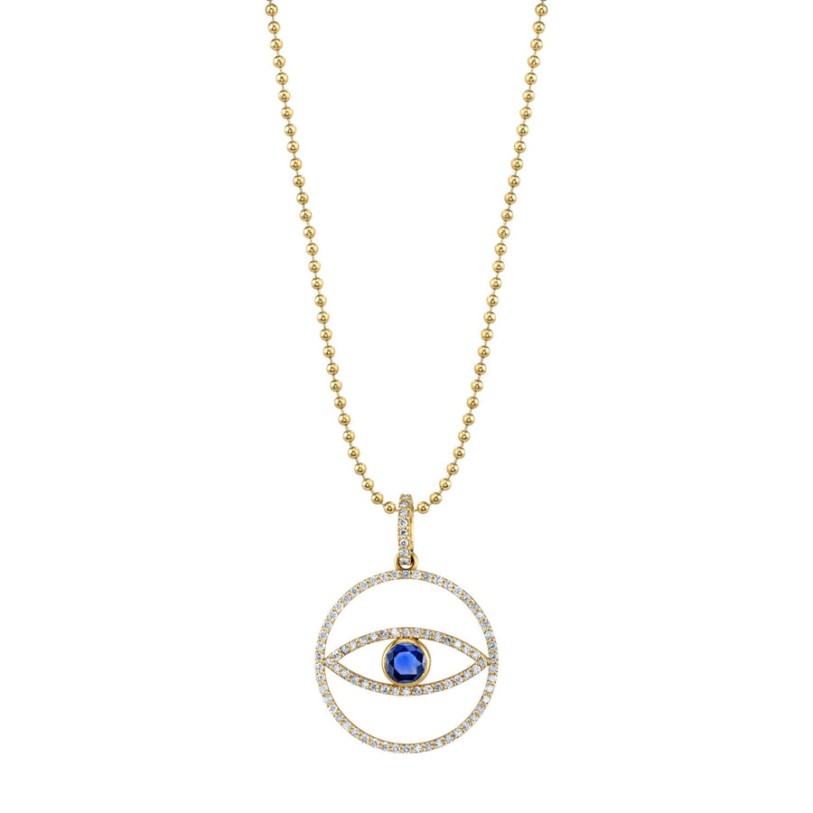 Sapphire and 14K Gold Evil Eye Medallion Necklace