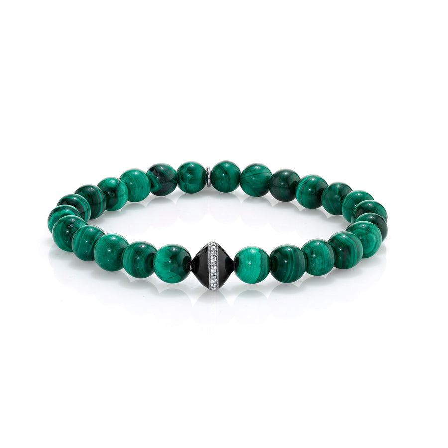 Mr. LOWE Malachite Bracelet With Diamond And Black Enamel Bead