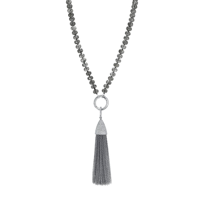 TASSEL BLACK TOURMALINATED QUARTZ KNOTTED NECKLACE