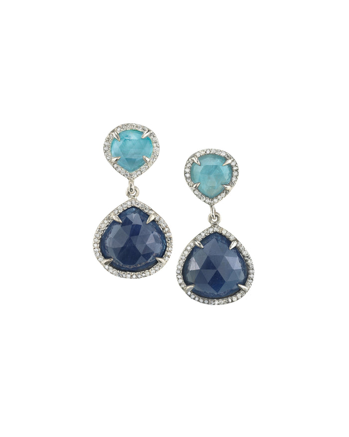 SAPPHIRE AND AQUA DROP EARRINGS