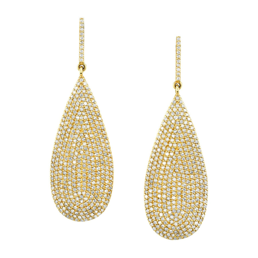 14K Gold Pavé Diamond Pear Teardrop Earrings