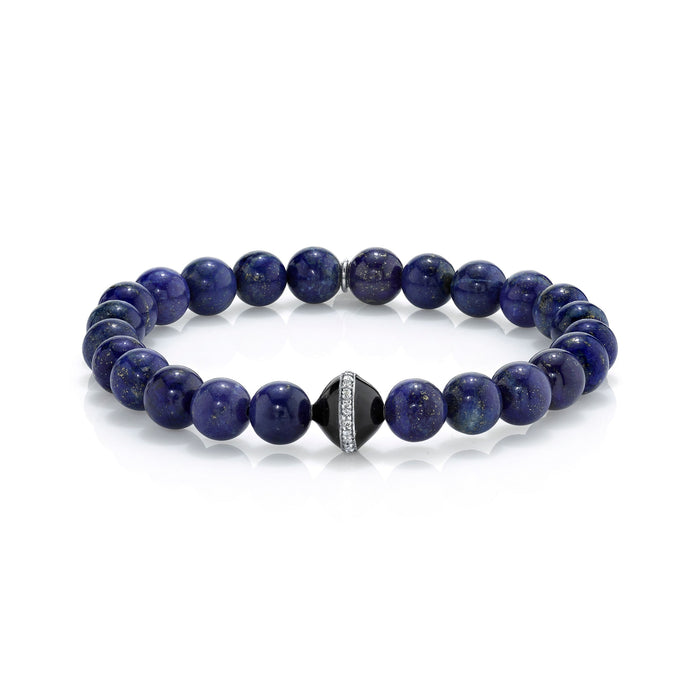 LAPIS BRACELET WITH BLACK ENAMEL AND DIAMOND PAVÉ BEAD