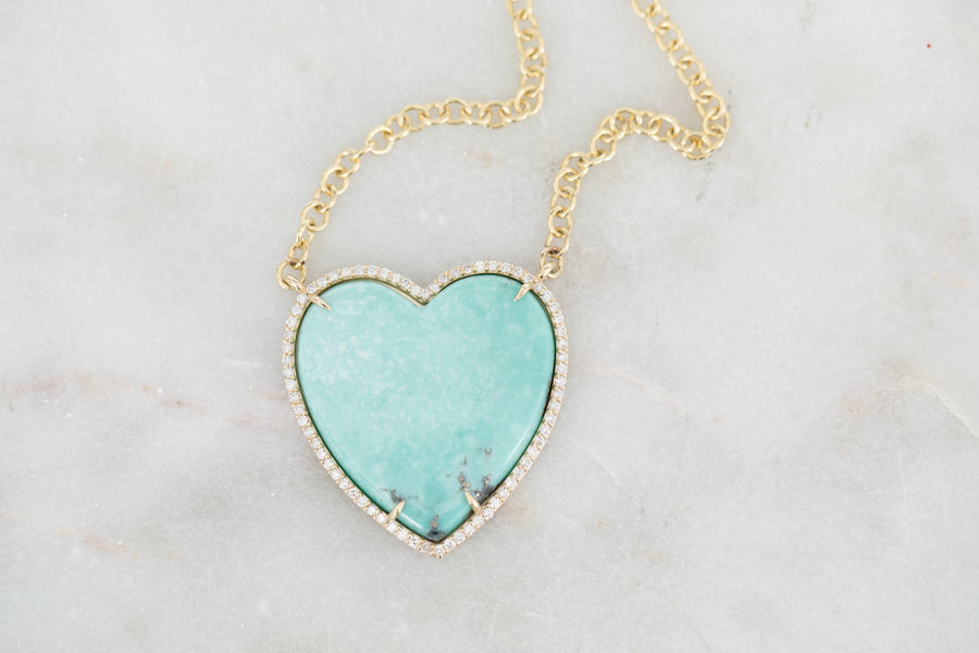 Turquoise and Diamond Heart on 14k Cable Chain