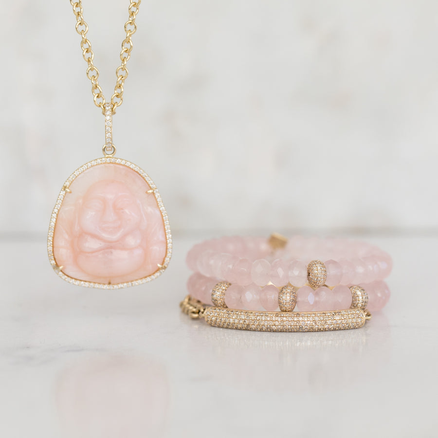 14k Gold Carved Pink Opal Buddha Necklace