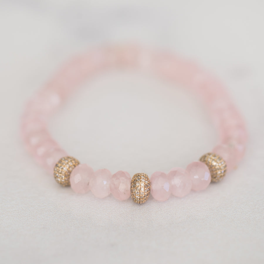 Rose Quartz Bracelet with 14k Gold and Diamond Donut Beads