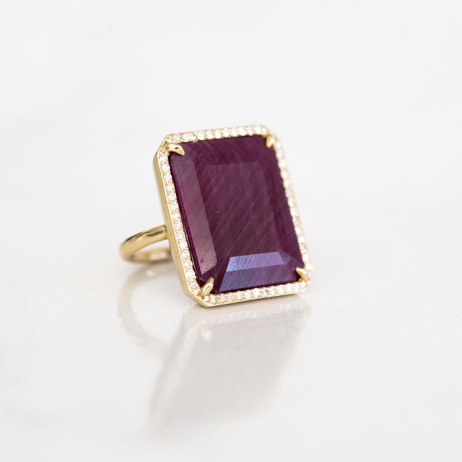 14k Gold and Natural Ruby Emerald Cut Ring