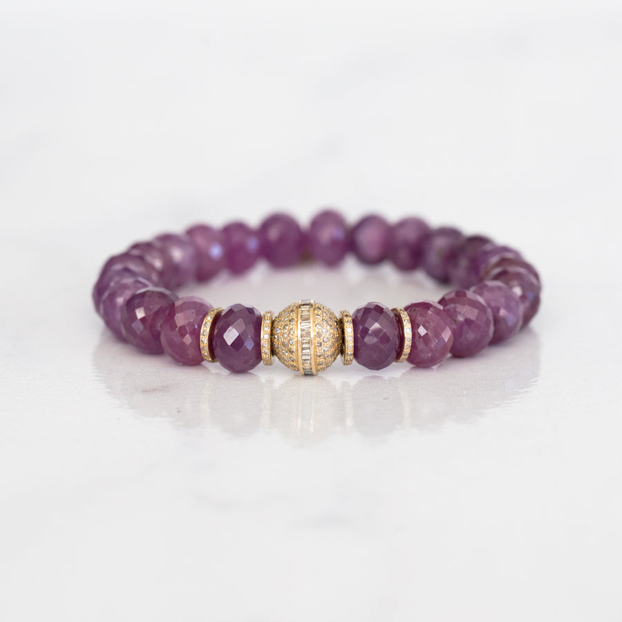 14k Natural Ruby Bracelet with Diamond Bead and Rondelles