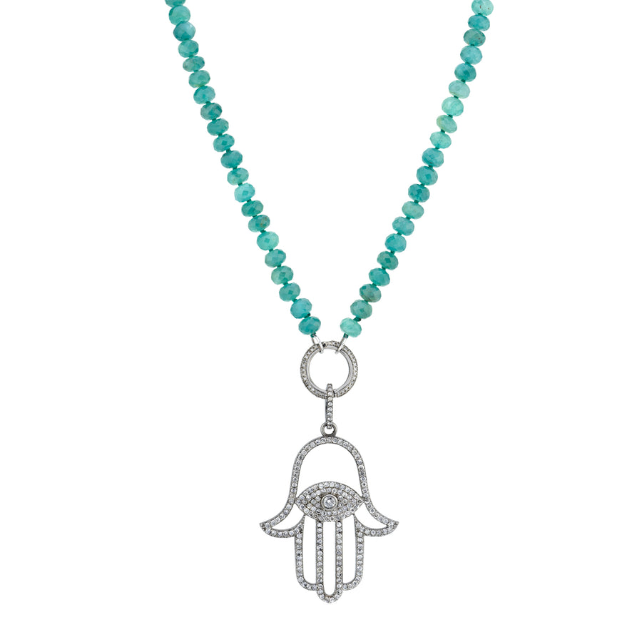 Hamsa Grandidierite Knotted Necklace