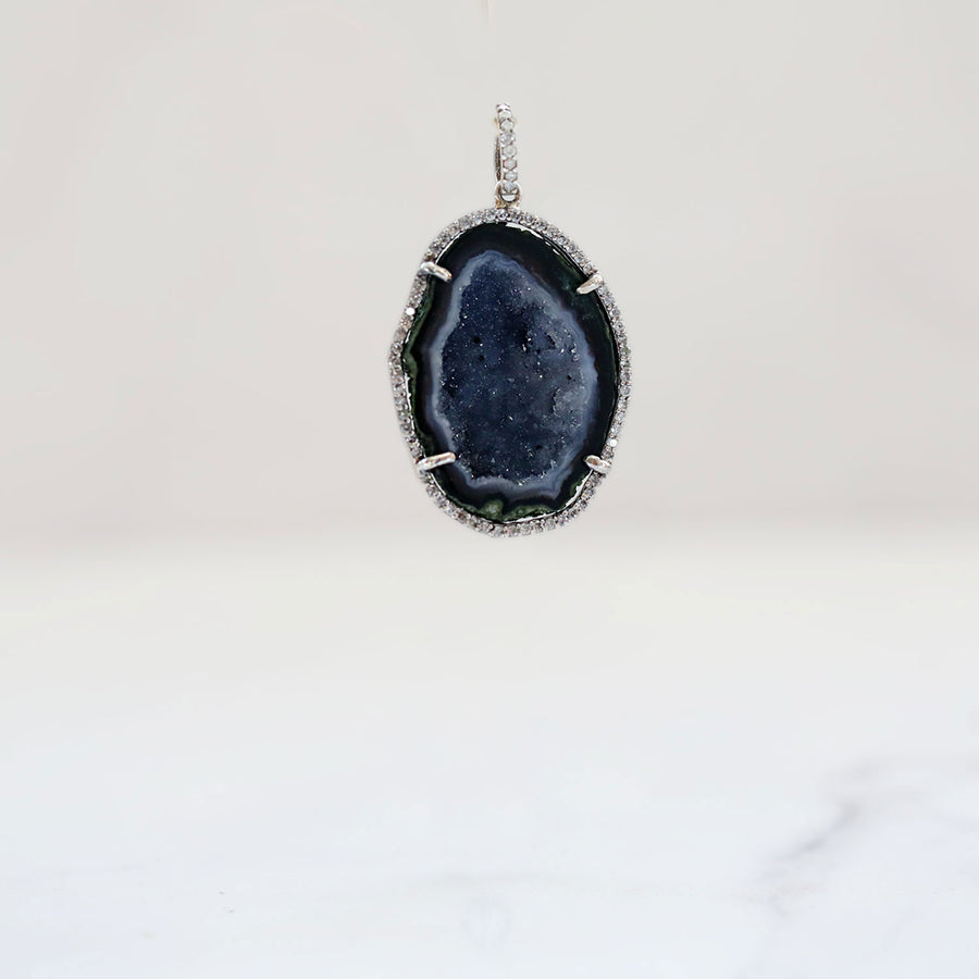 Natural Geode and Diamond Pendant