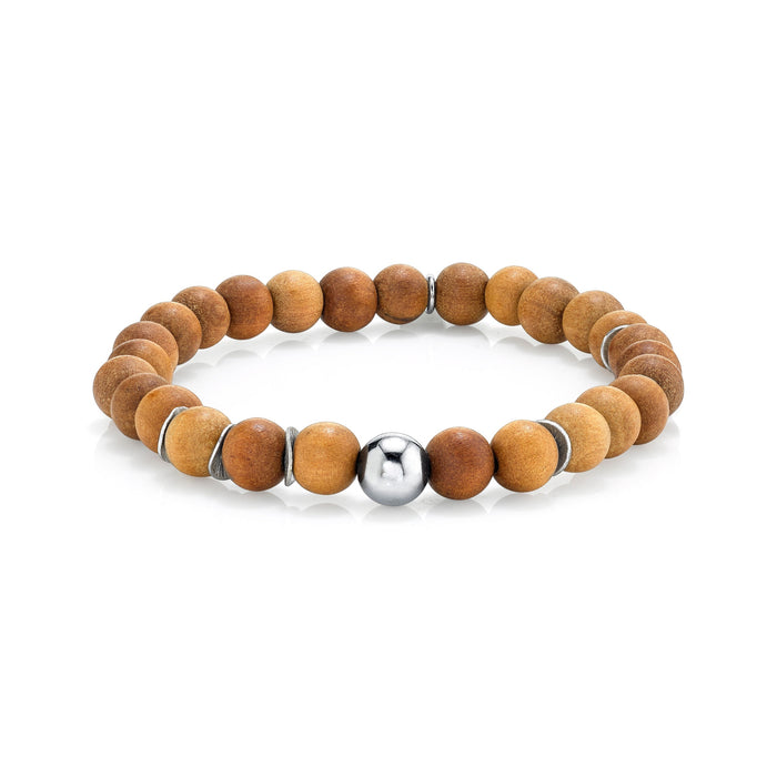 SANDALWOOD BRACELET WITH SILVER BEAD AND DISCS