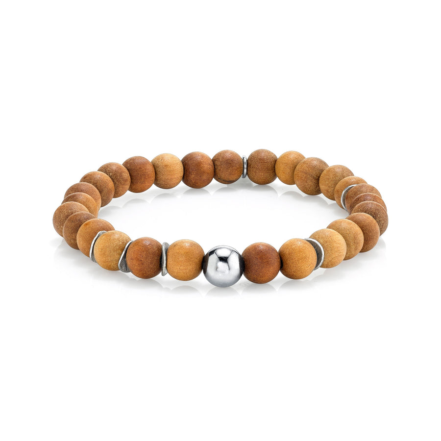 Mr. LOWE Sandalwood Bracelet with Silver Beads