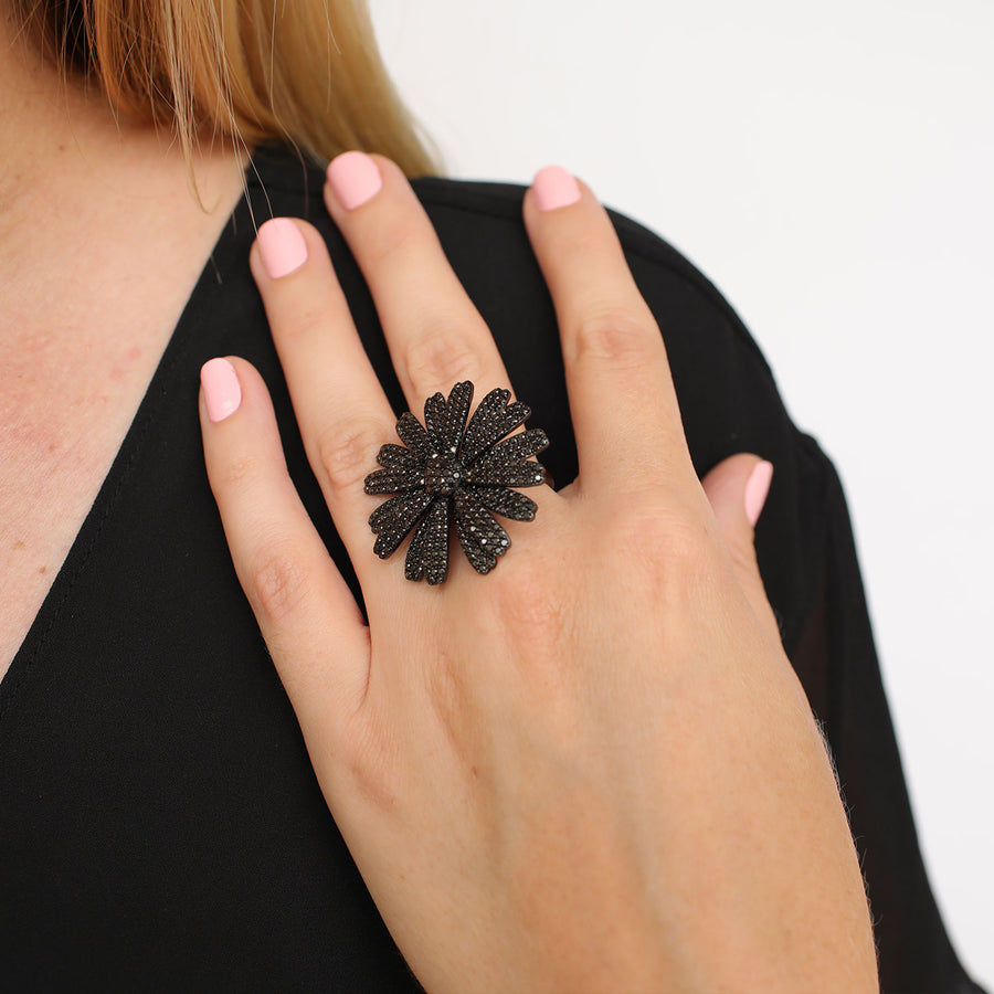 Black Diamond Daisy Ring