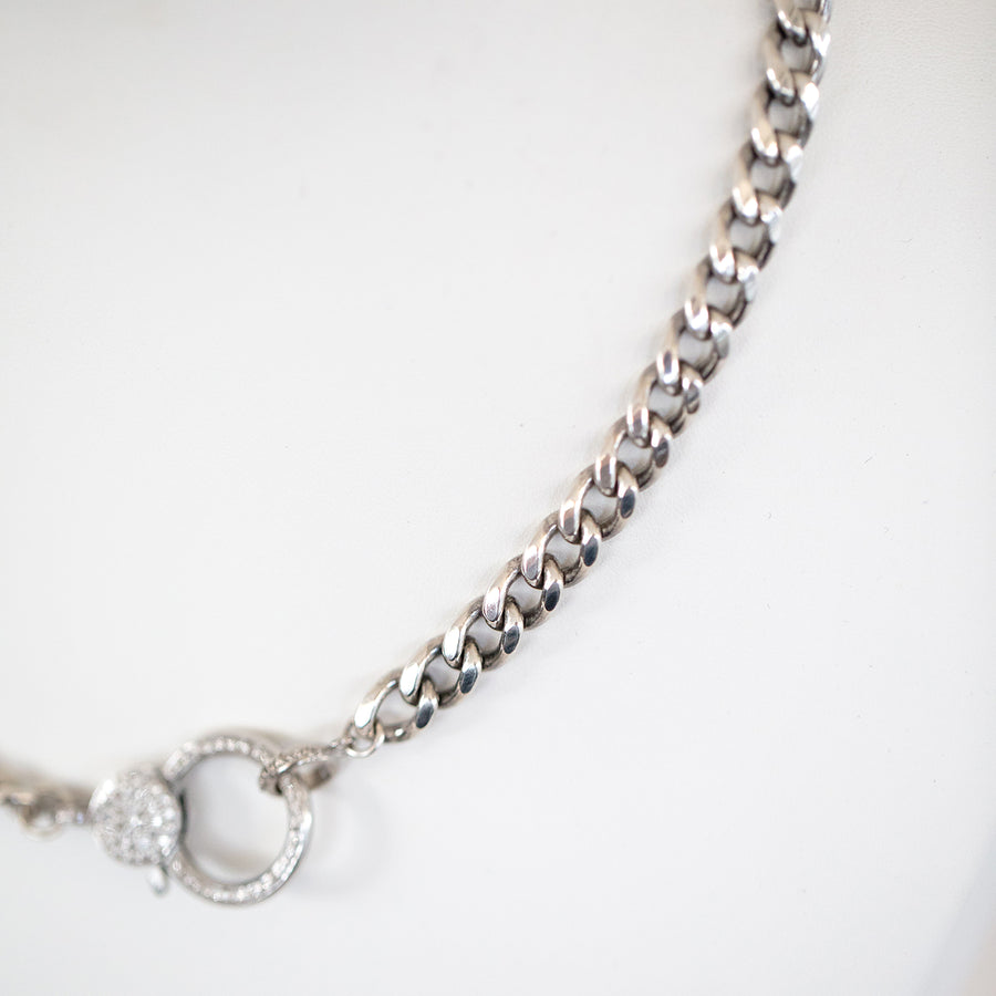 Short Heavy Cable Chain Necklace with Diamond Claw Clasp