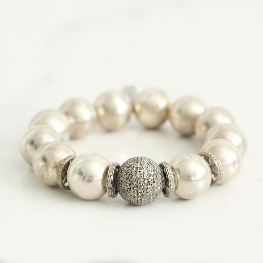 Antique Silver Bead Bracelet with Diamond Bead and Rondelles