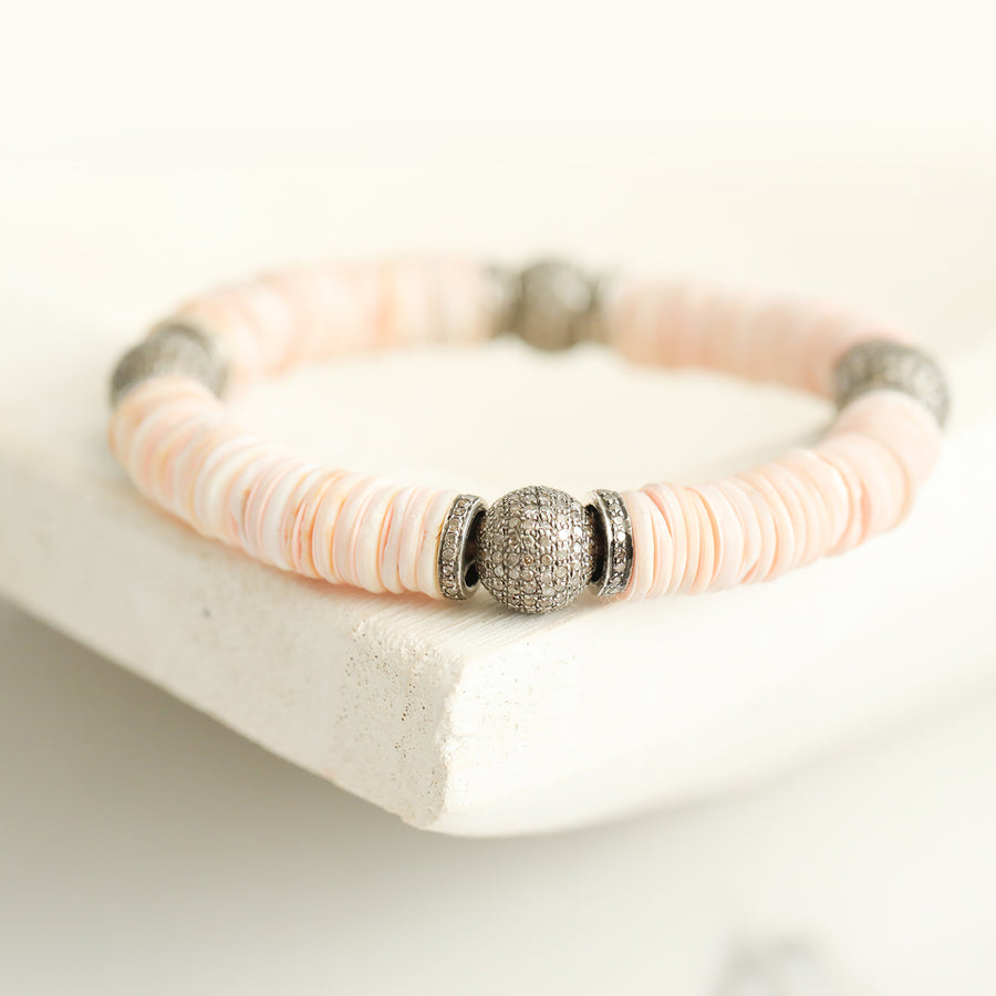 Pink Vinyl and Shell Bracelet with Diamond Beads