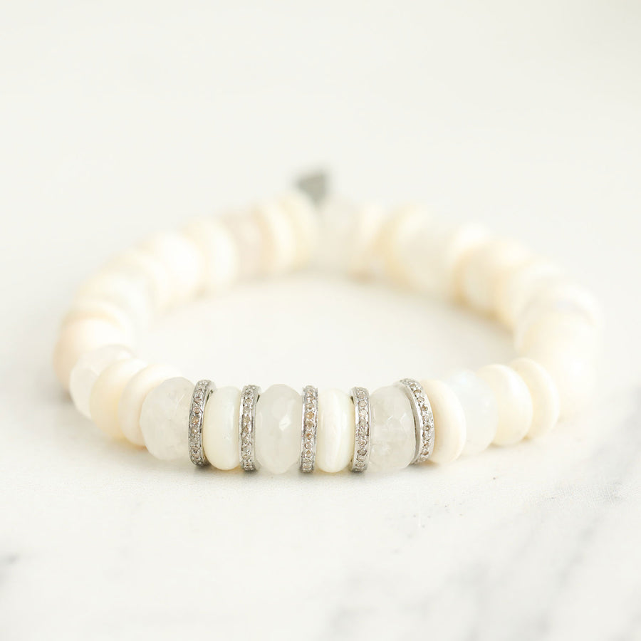 White Mixed Stone Bracelet with Diamond Rondelles