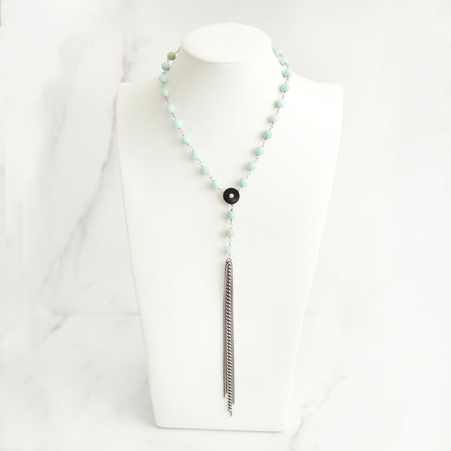 Faceted Amazonite Y Necklace