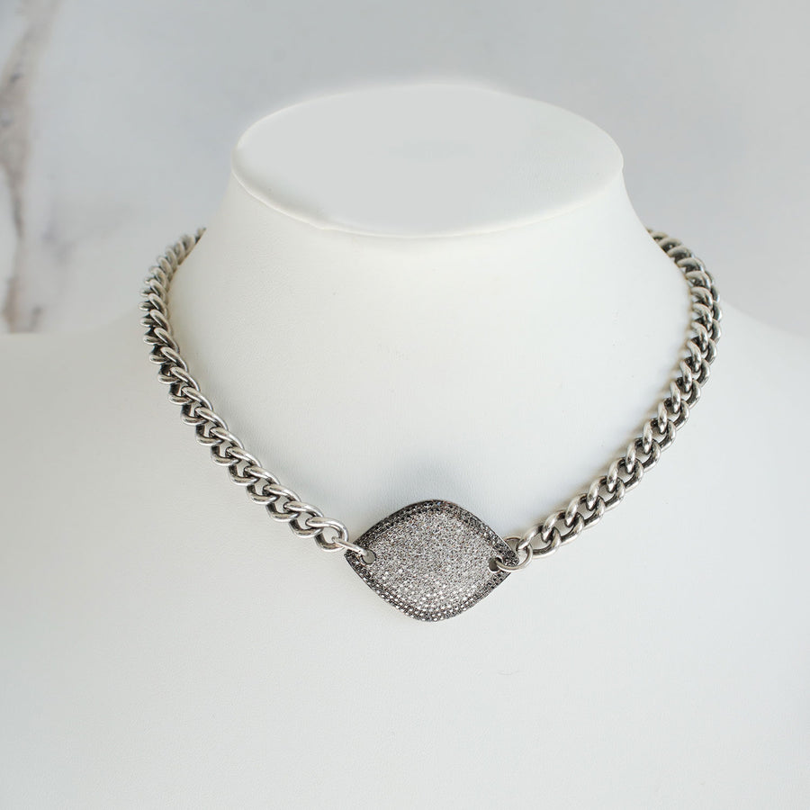 Black and White Diamond Collar Necklace