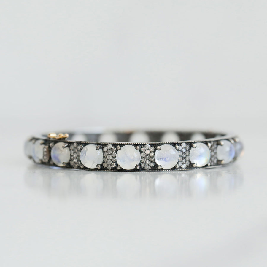 Rainbow Moonstone and Diamond Bubble Bangle